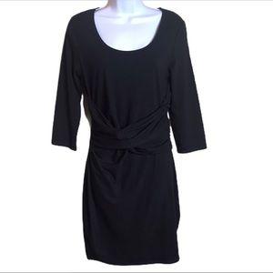 Rachel Roy Black Stretch Bodycon Wrap Waist Dress